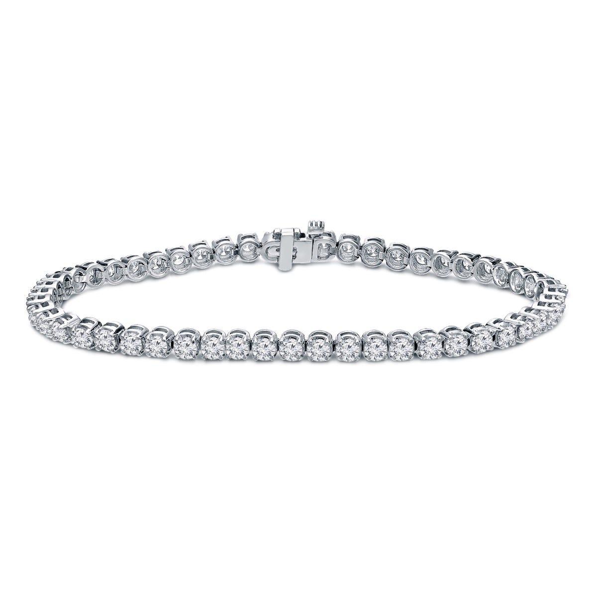 2.50ctw. 4-Prong Round Link Diamond Tennis Bracelet in 14K White Gold (IJ, I1-I2)