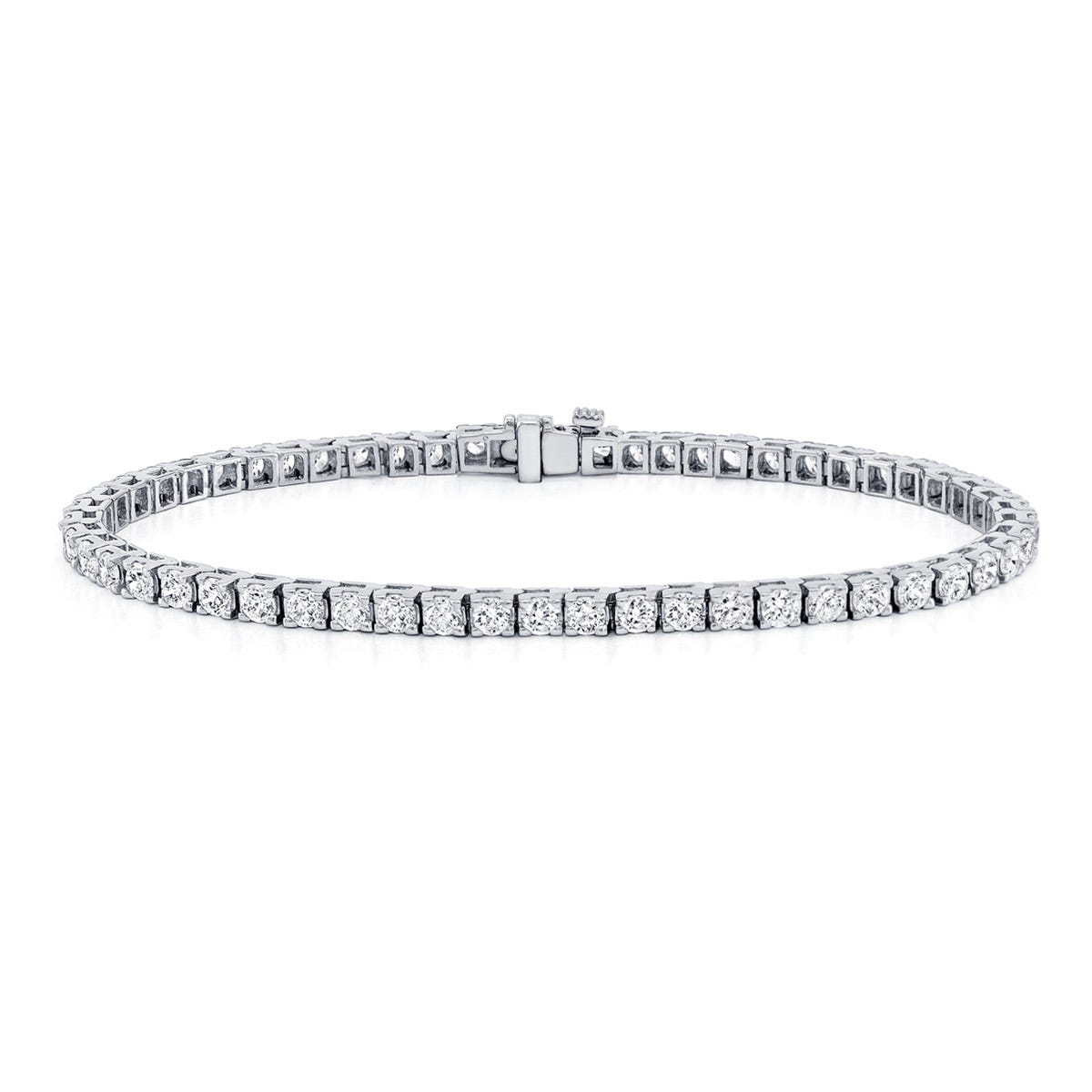 2.50ctw. 4-Prong Square Link Diamond Tennis Bracelet in 14K White Gold (IJ, I1-I2)