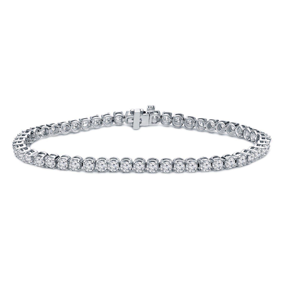 2.50ctw. 4-Prong Round Link Diamond Tennis Bracelet in 14K White Gold (HI, SI1-SI2)