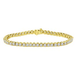 2.50ctw. 4-Prong Round Link Diamond Tennis Bracelet in 14K Yellow Gold  (IJ, I1-I2)
