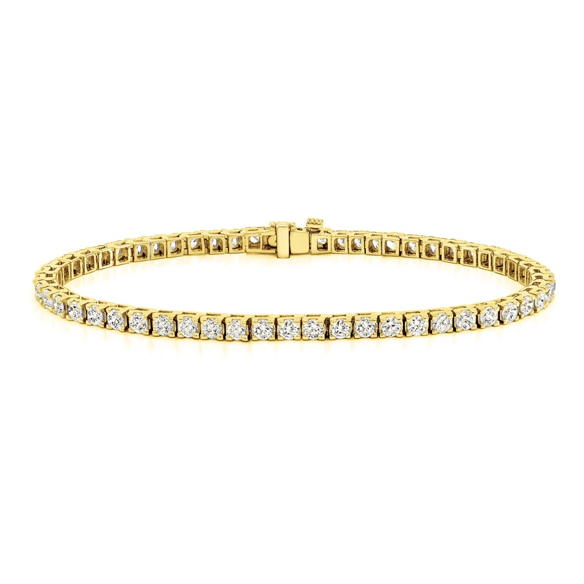 2.50ctw. 4-Prong Square Link Diamond Tennis Bracelet in 14K Yellow Gold (HI, SI1-SI2)