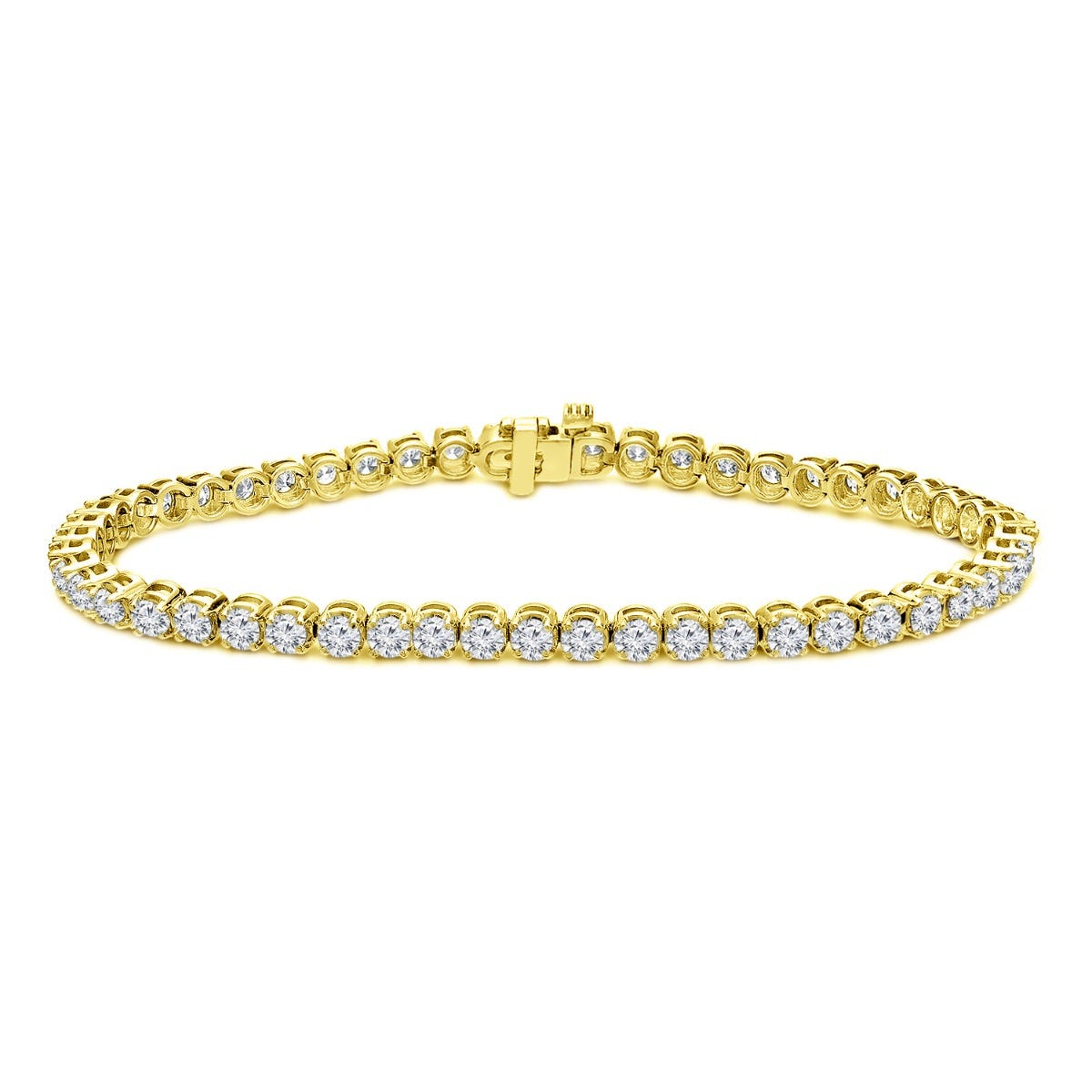 2.50ctw. 4-Prong Round Link Diamond Tennis Bracelet in 14K Yellow Gold (HI, VS1-VS2)