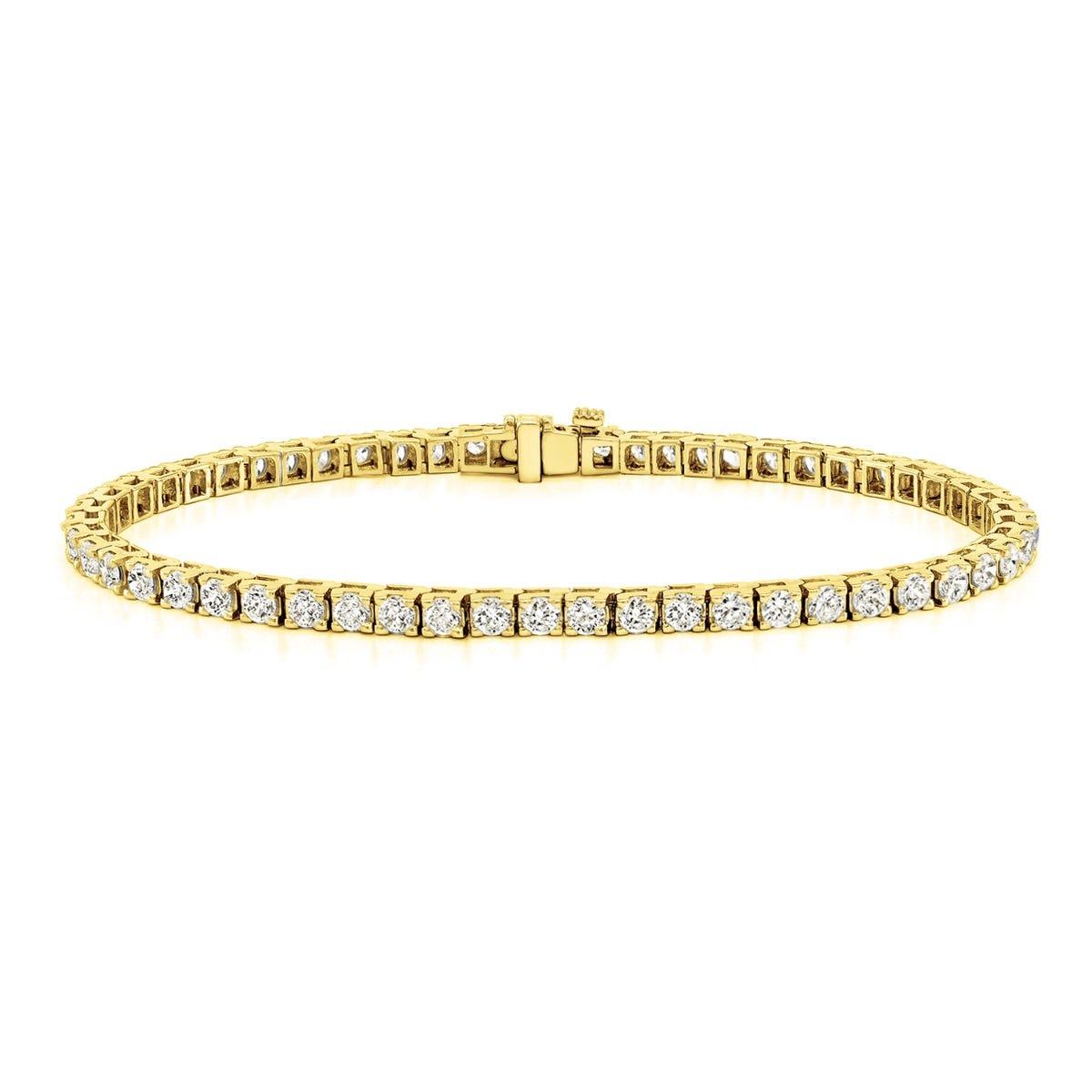 2.50ctw. 4-Prong Square Link Diamond Tennis Bracelet in 14K Yellow Gold (HI, VS1-VS2)
