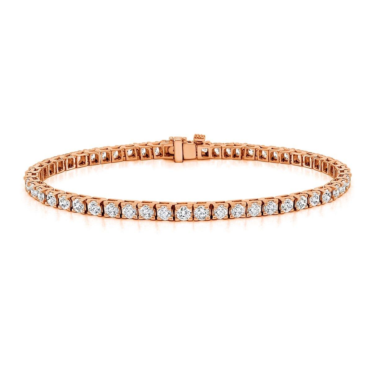 4ctw. 4-Prong Square Link Diamond Tennis Bracelet in 14K Rose Gold (JK, I2-I3)