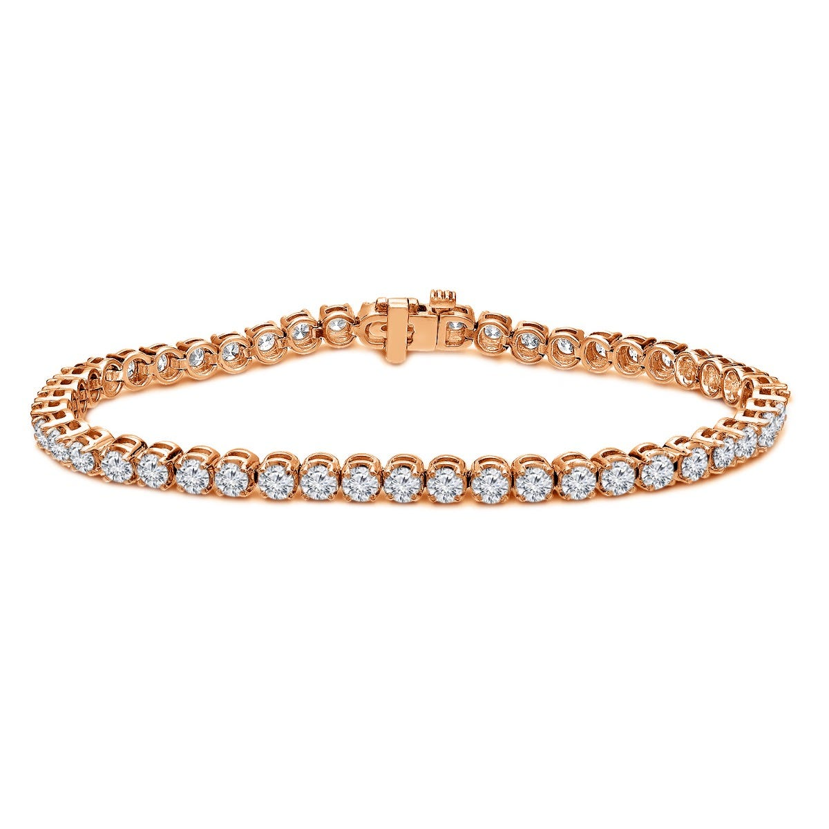 4ctw. 4-Prong Round Link Diamond Tennis Bracelet in 14K Rose Gold (IJ, I1-I2)