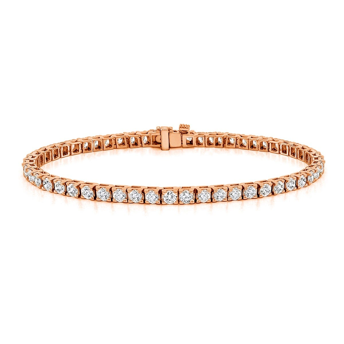 4ctw. 4-Prong Square Link Diamond Tennis Bracelet in 14K Rose Gold (HI, SI1-SI2)