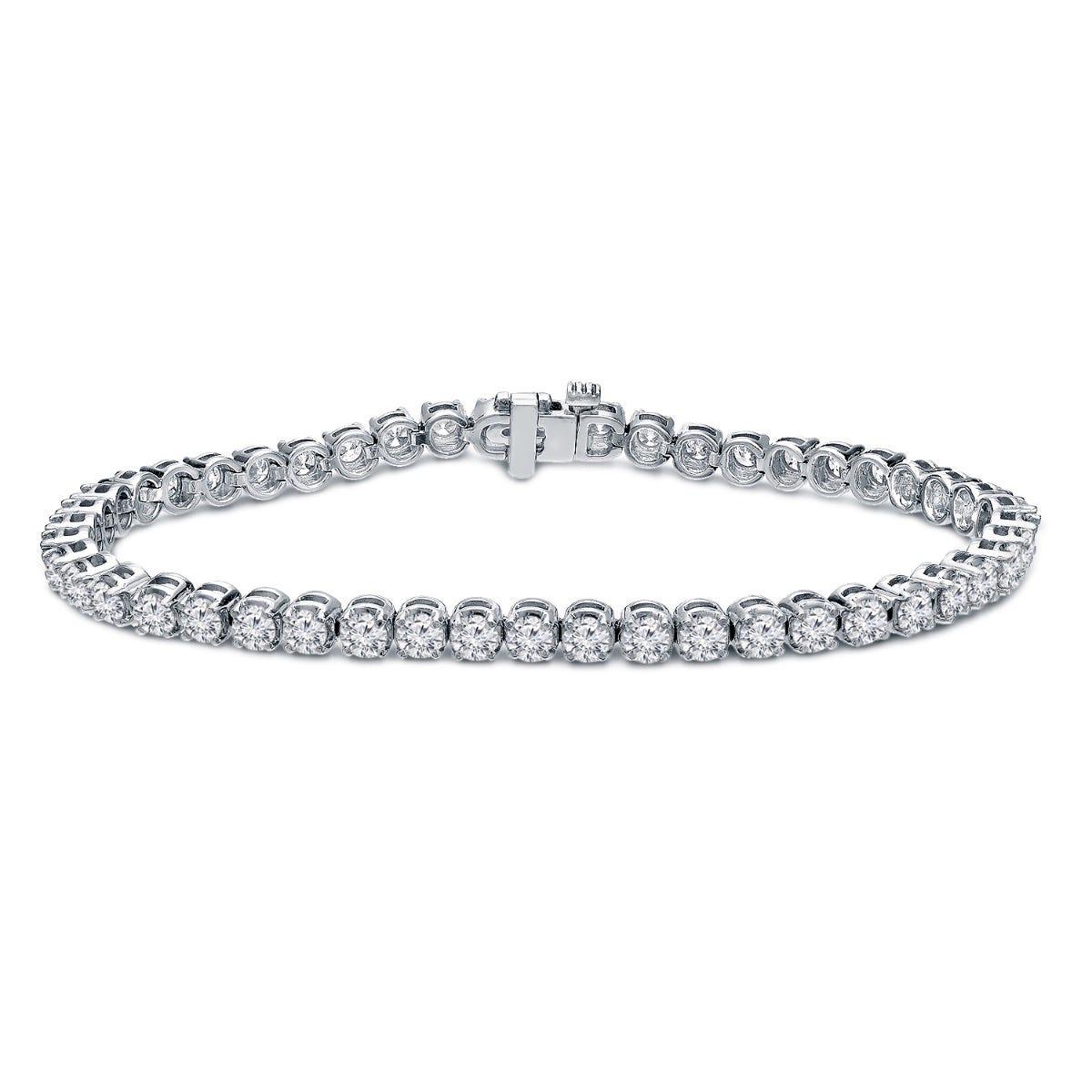 4ctw. 4-Prong Round Link Diamond Tennis Bracelet in 14K White Gold (HI, SI1-SI2)