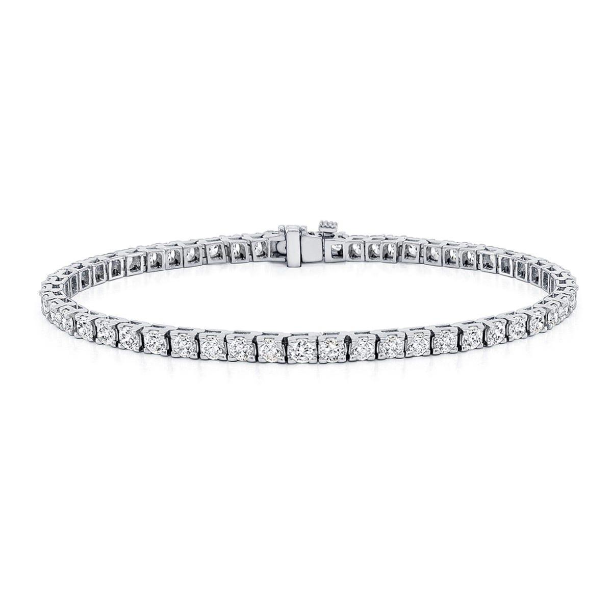 4ctw. 4-Prong Square Link Diamond Tennis Bracelet in 14K White Gold (HI, VS1-VS2)