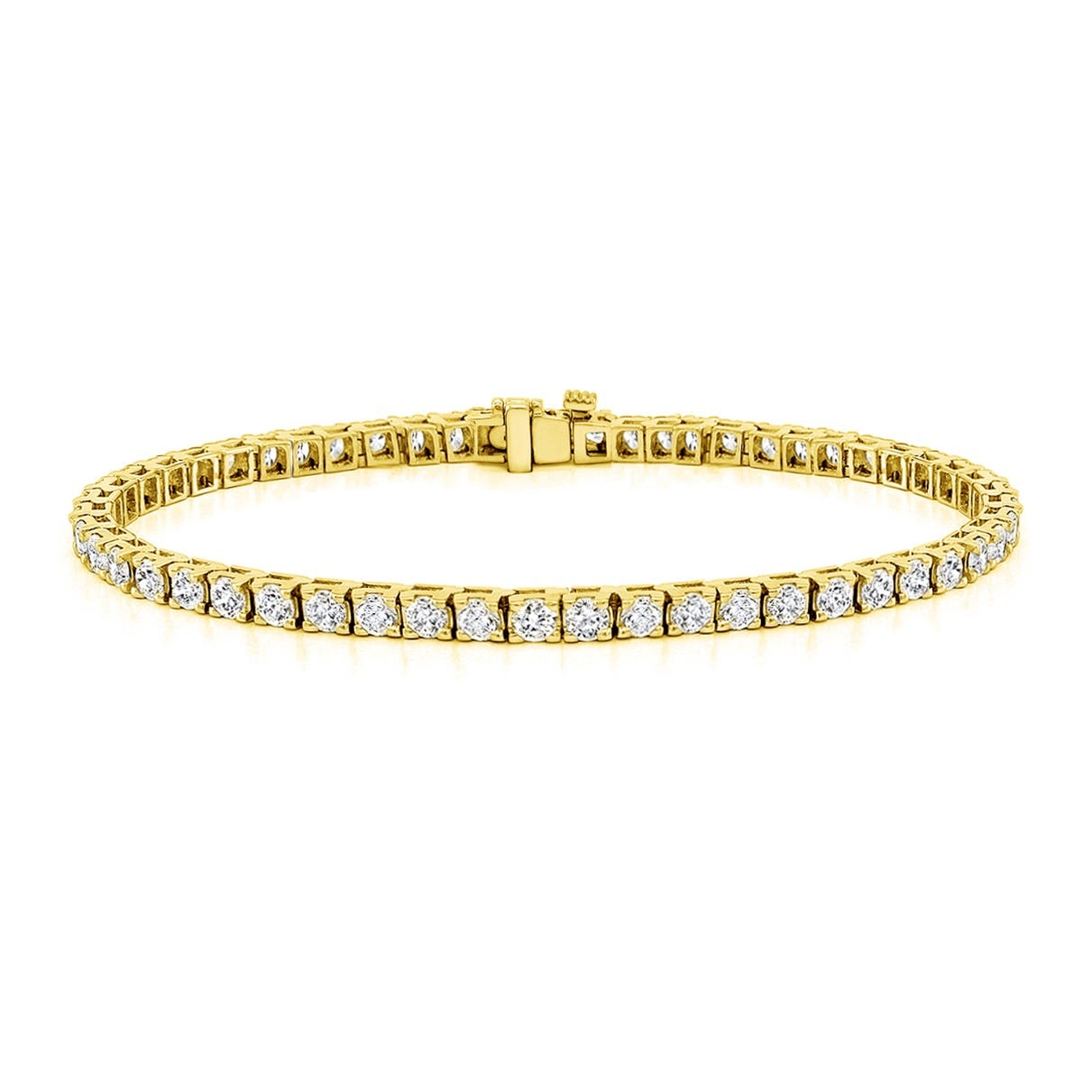 4ctw. 4-Prong Square Link Diamond Tennis Bracelet in 14K Yellow Gold (IJ, I1-I2, 52-Stone)