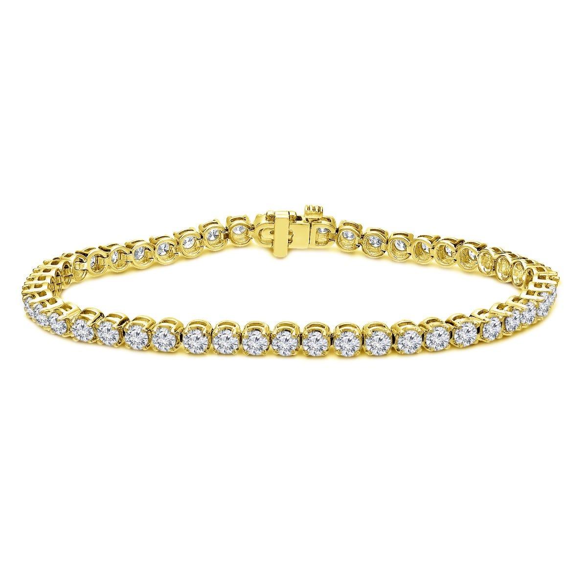 4ctw. 4-Prong Round Link Diamond Tennis Bracelet in 14K Yellow Gold (HI, SI1-SI2, 48-Stone)