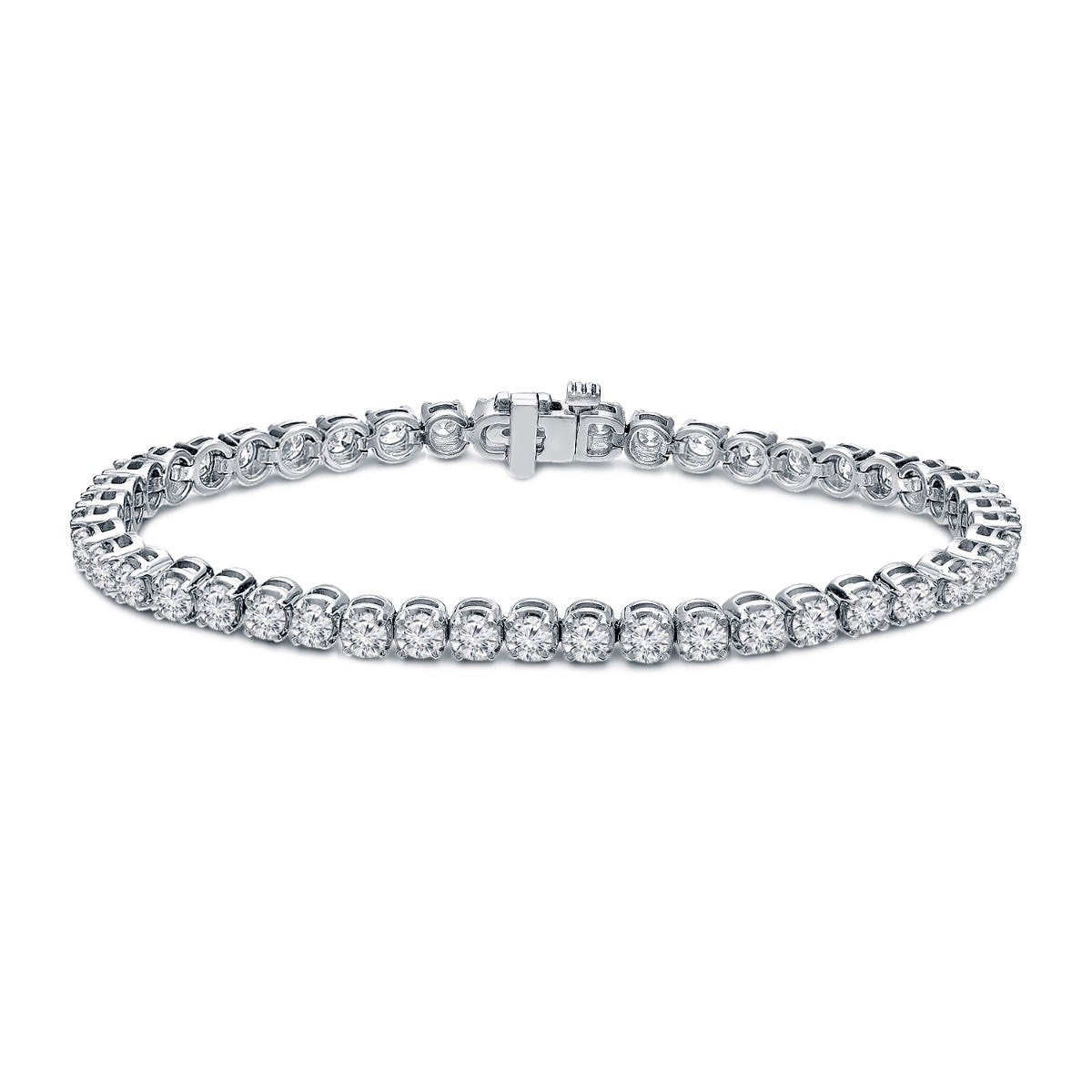 6ctw. 4-Prong Round Link Diamond Tennis Bracelet in 14K White Gold  (IJ, I1-I2)