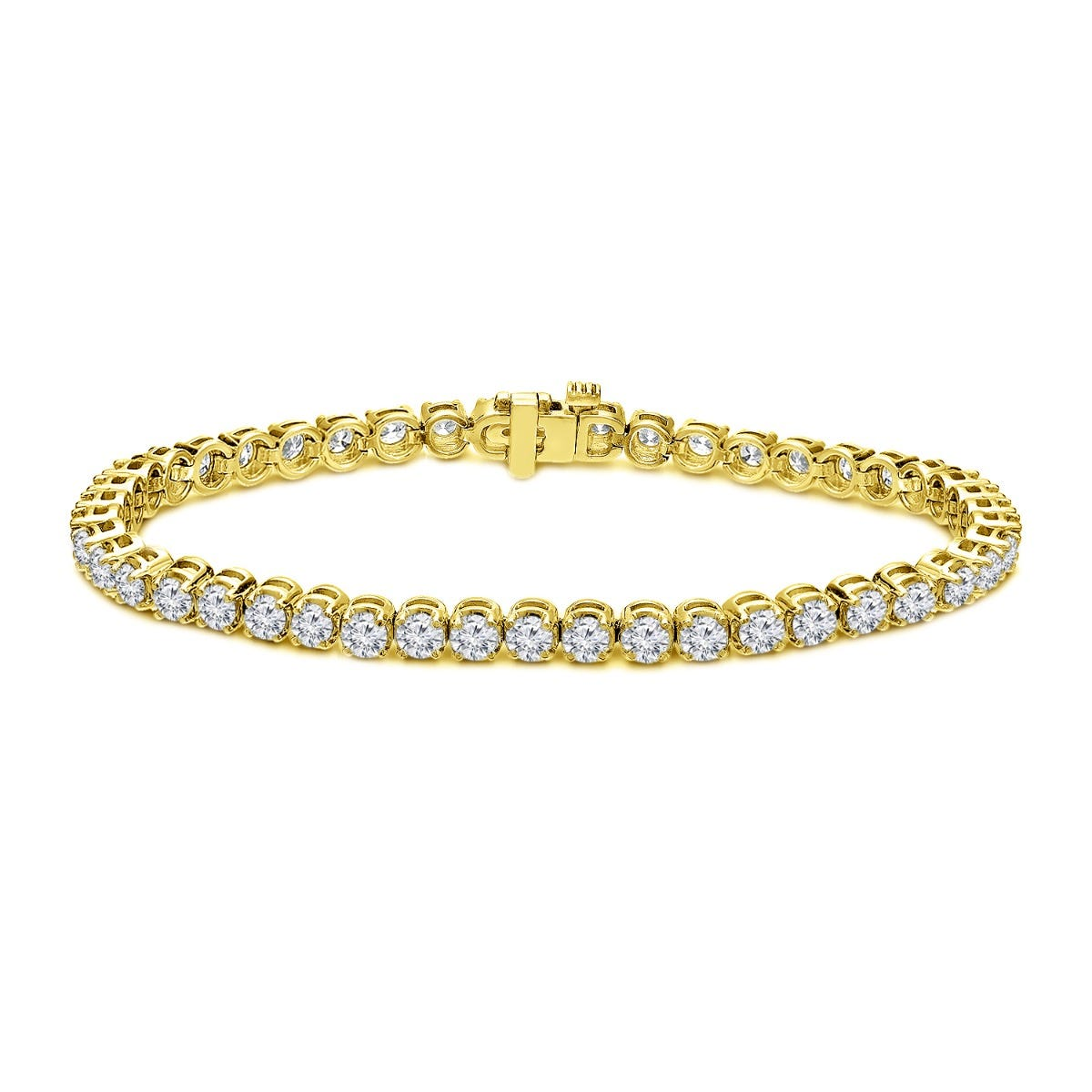 6ctw. 4-Prong Round Link Diamond Tennis Bracelet in 14K Yellow Gold (JK, I2-I3)