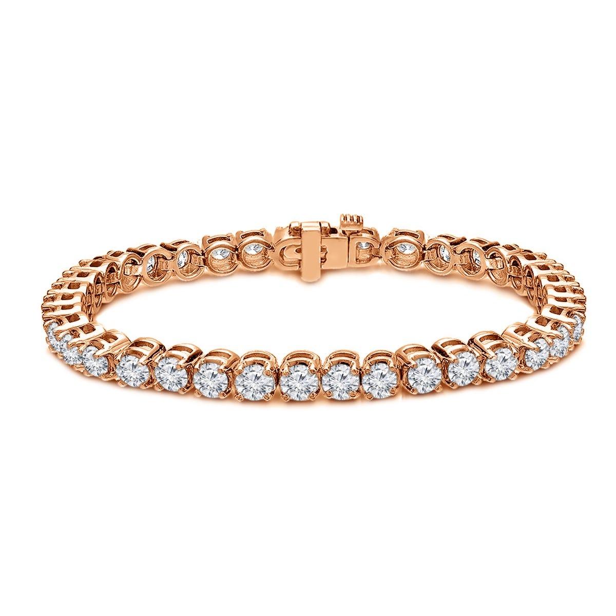 8ctw. 4-Prong Round Link Diamond Tennis Bracelet in 14K Rose Gold (JK, I2-I3, 42-Stone)