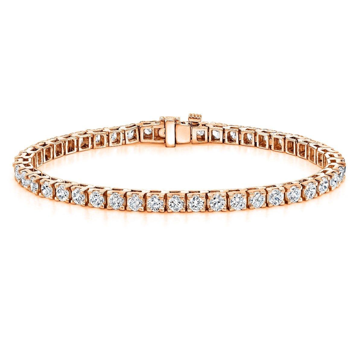 8ctw. 4-Prong Square Link Diamond Tennis Bracelet in 14K Rose Gold (HI, VS1-VS2, 38-Stone)