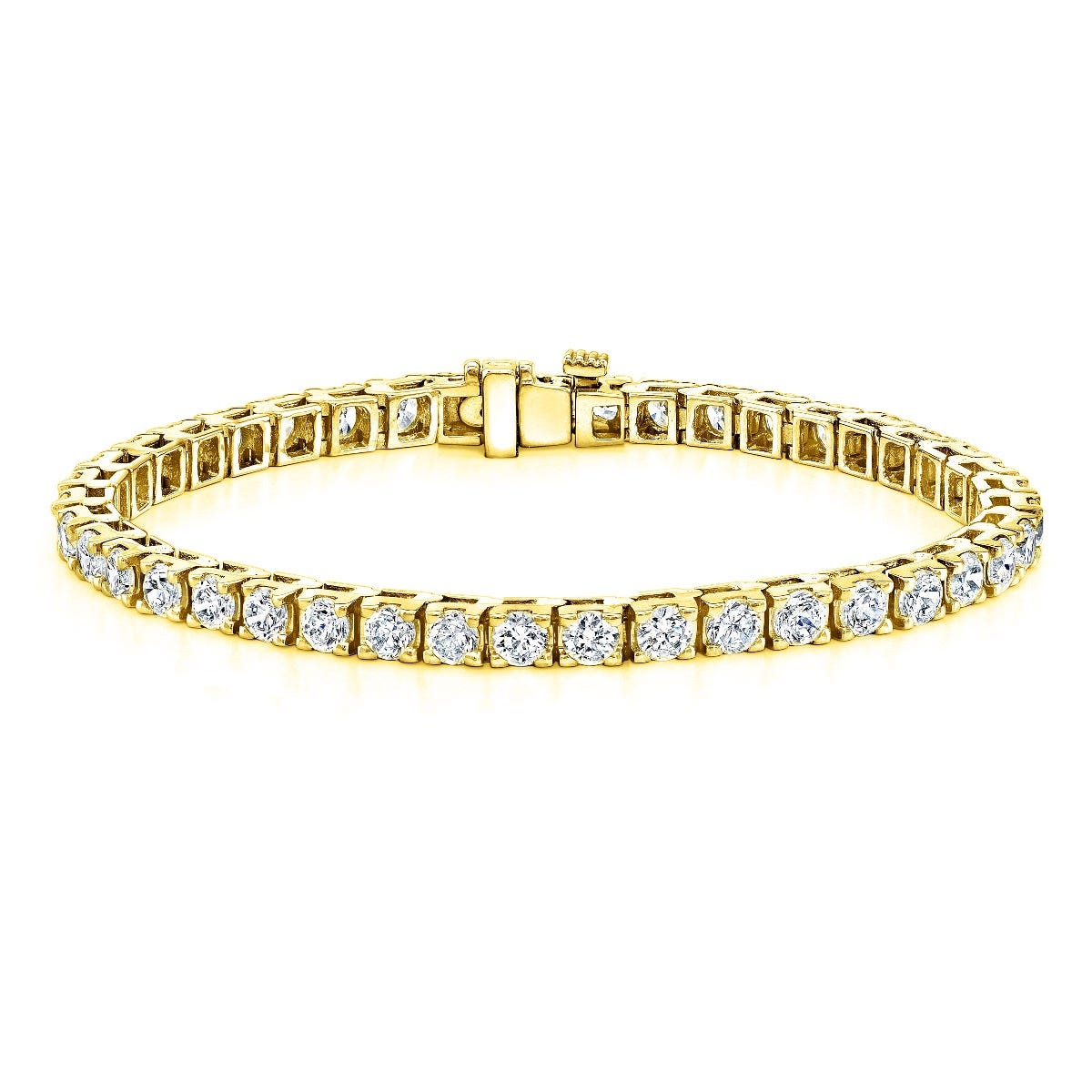 9ctw. 4-Prong Square Link Diamond Tennis Bracelet in 14K Yellow Gold (HI, SI1-SI2)