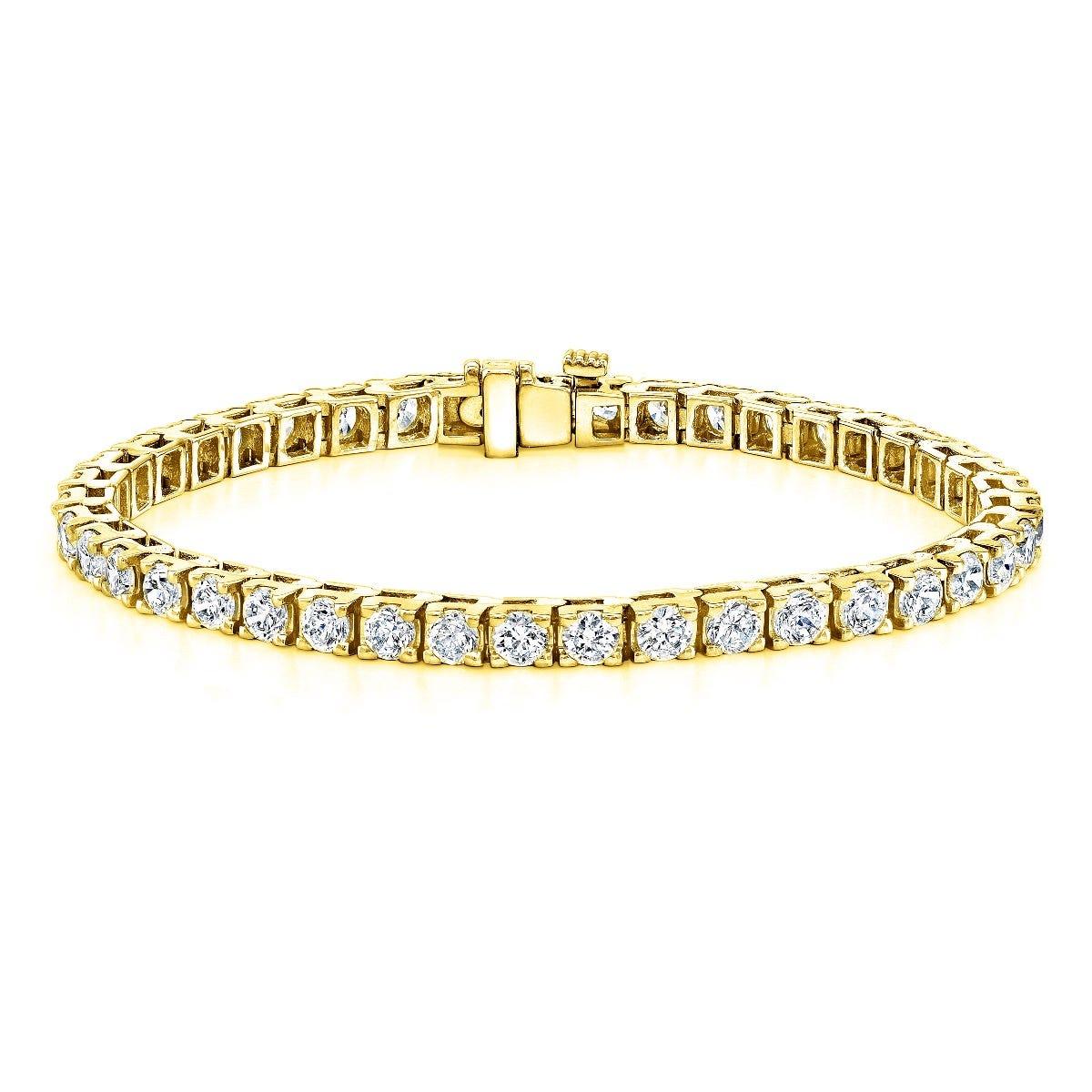 9ctw. 4-Prong Square Link Diamond Tennis Bracelet in 14K Yellow Gold (HI, VS1-VS2)
