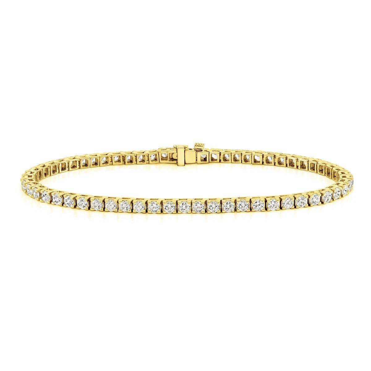 1.50ctw. 4-Prong Square Link Diamond Tennis Bracelet in 14K Yellow Gold (JK, I2-I3)