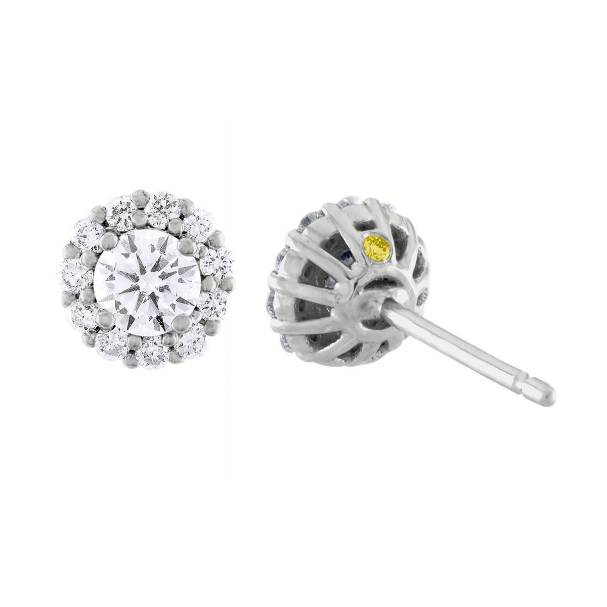 Lab-Crafted Diamond 5/8ctw. Round Halo Earrings in 14k White Gold