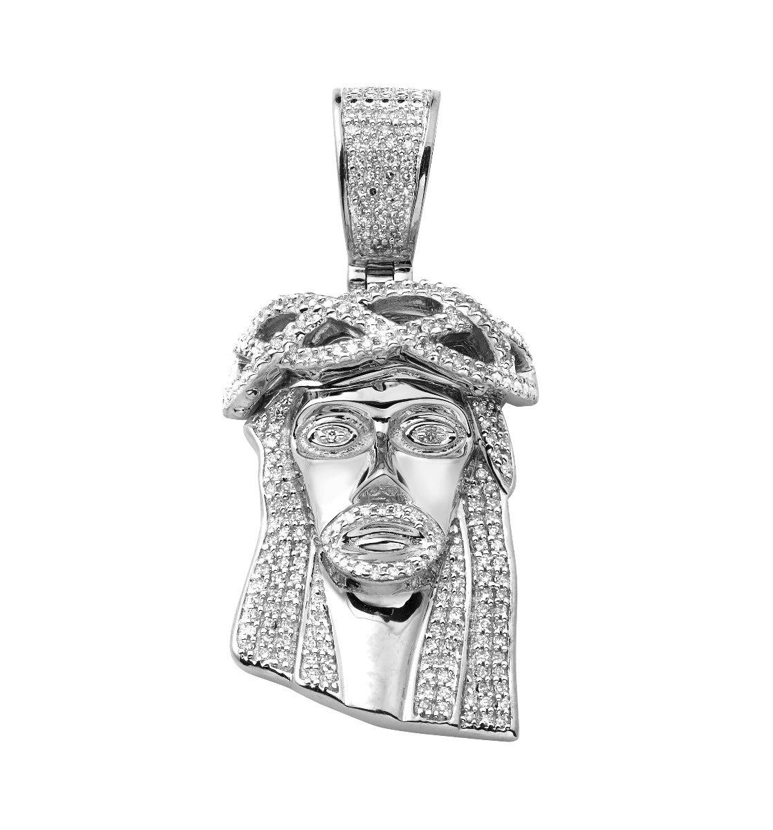 Diamond 1 2ctw Jesus Silhouette Face Piece Pendant In 10k White Gold