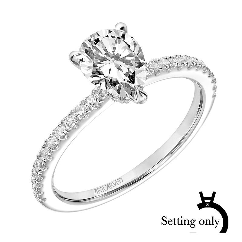 Sybil. ArtCarved® Pear Shape Diamond Semi-Mount in 14k White Gold