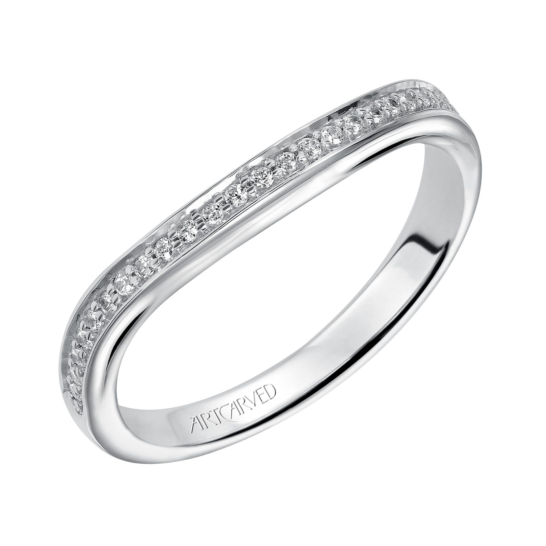 Peyton. ArtCarved® Diamond Wedding Band in 14k White Gold