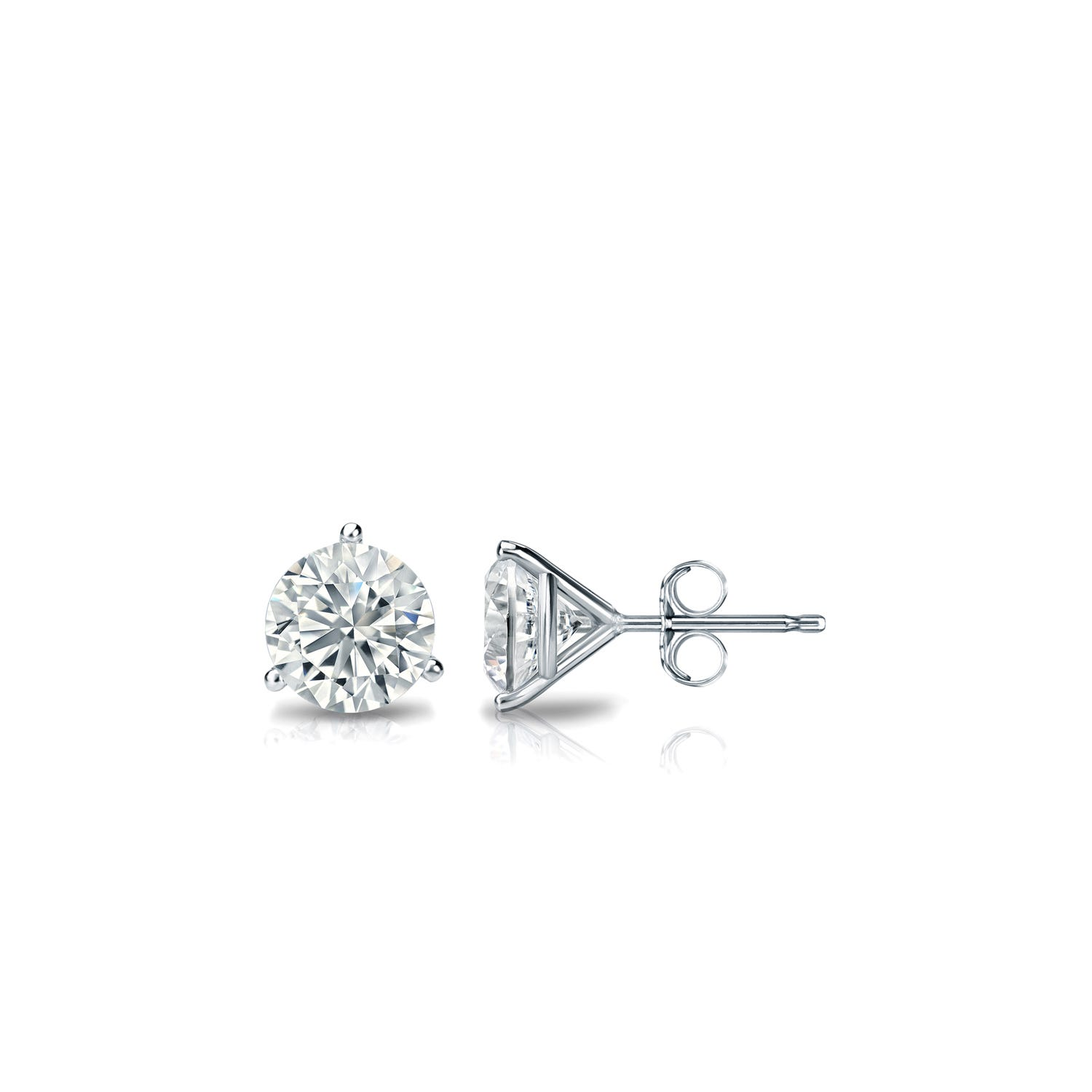 1/3 CTTW Round Diamond Solitaire Stud Earrings IJ SI2 in 18K White Gold 3-Prong Setting