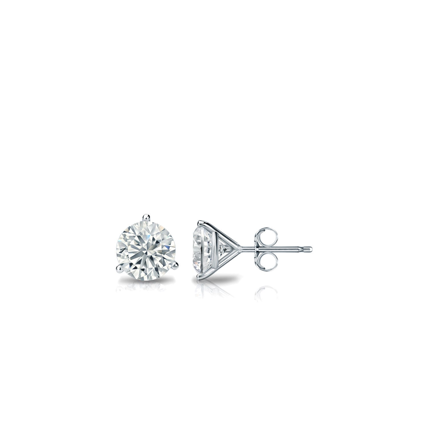 1/10 CTTW Round Diamond Solitaire Stud Earrings IJ VS2 in Platinum 3-Prong Setting