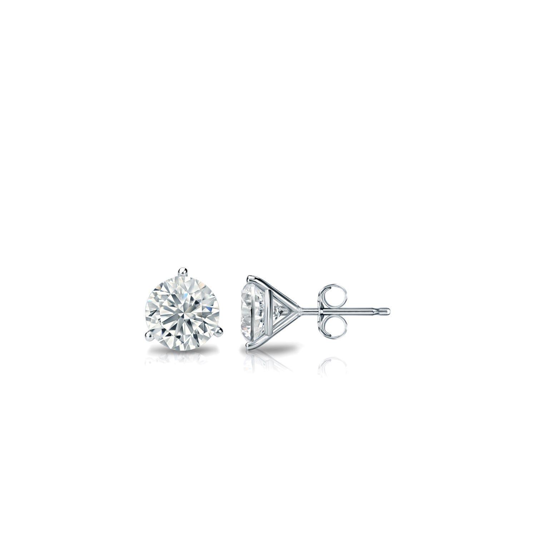 7639d02df73cb 1/5 CTTW Round Diamond Solitaire Stud Earrings IJ VS2 in 14K White Gold  3-Prong Setting