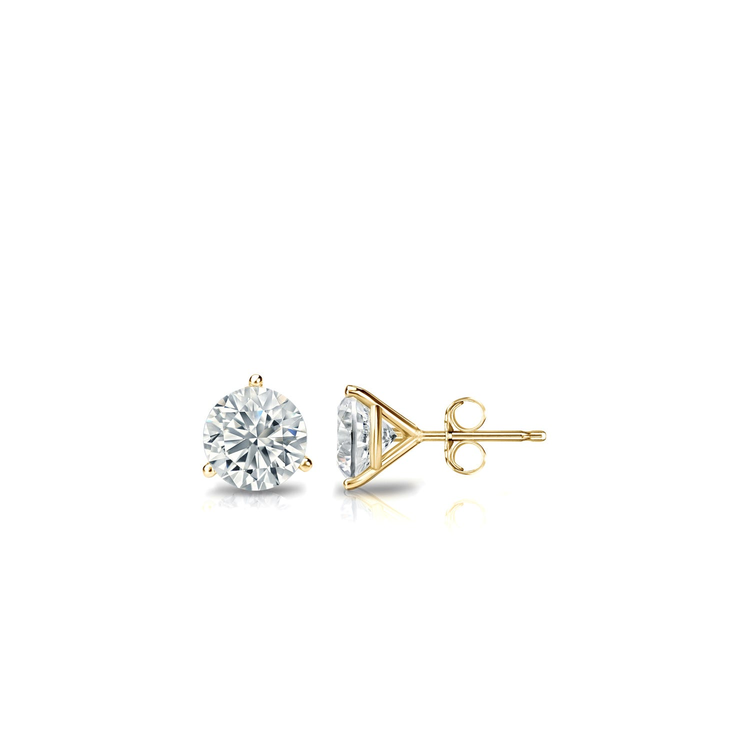 1/6 CTTW Round Diamond Solitaire Stud Earrings IJ VS2 in 14K Yellow Gold 3-Prong Setting
