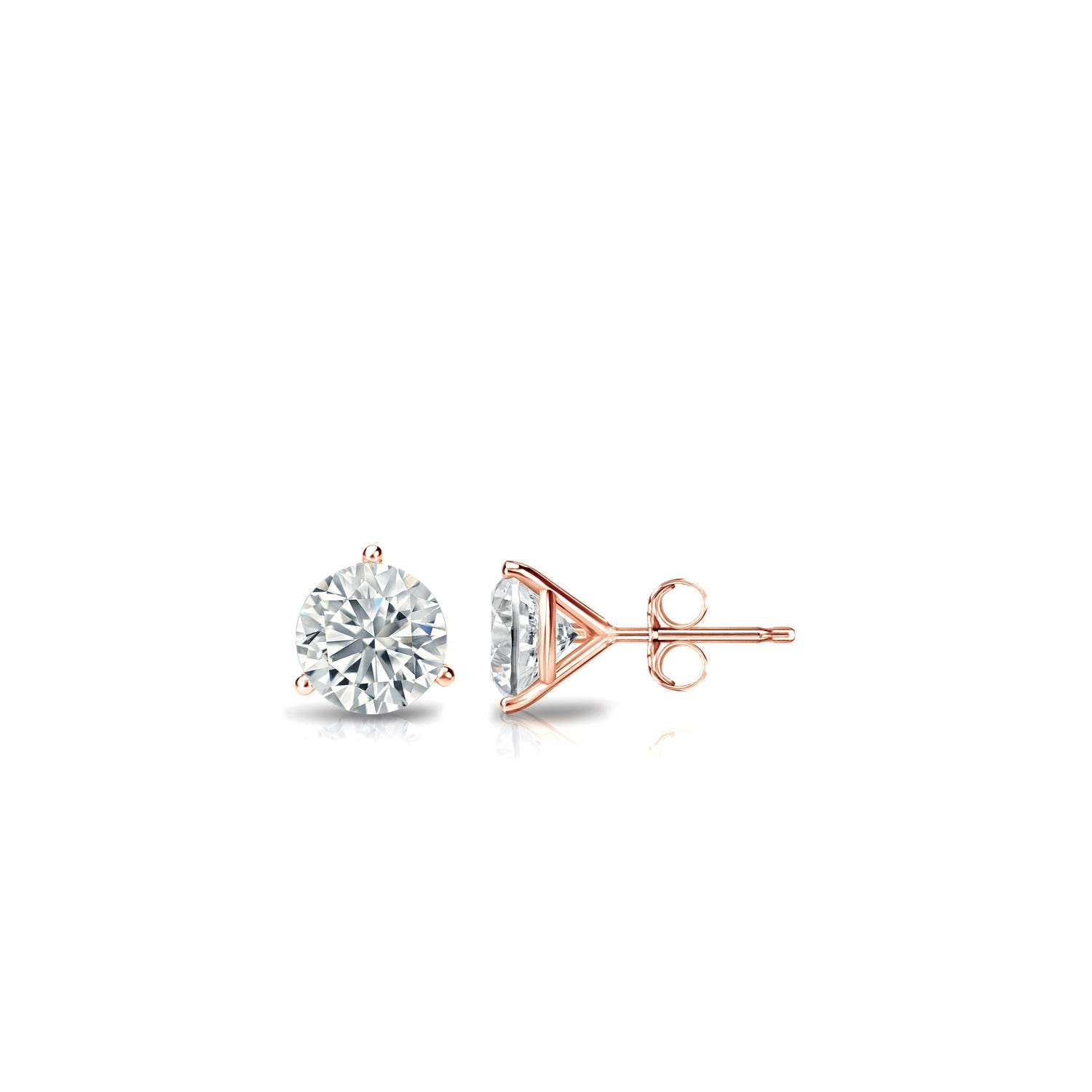 1/6 CTTW Round Diamond Solitaire Stud Earrings IJ I1 in 14K Rose Gold 3-Prong Setting