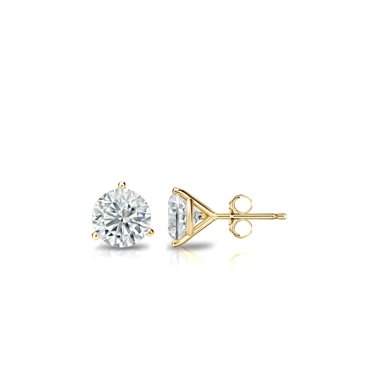 1/3 CTTW Round Diamond Solitaire Stud Earrings IJ VS2 in 18K Yellow Gold 3-Prong Setting