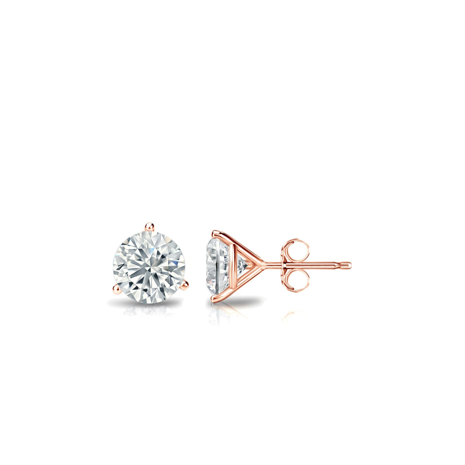 1/3 CTTW Round Diamond Solitaire Stud Earrings IJ SI2 in 14K Rose Gold 3-Prong Setting