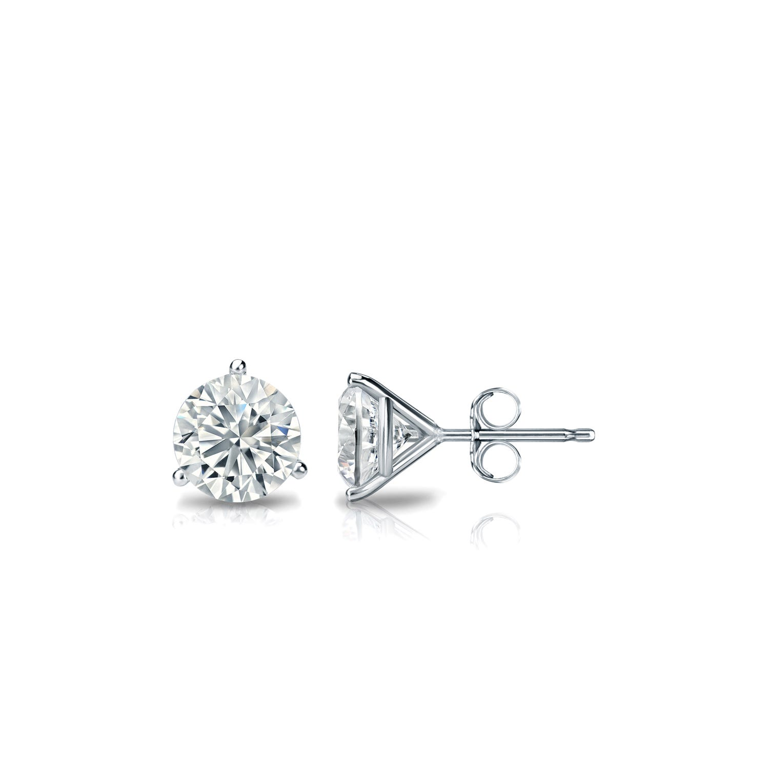 3/8 CTTW Round Diamond Solitaire Stud Earrings IJ SI1 in Platinum 3-Prong Setting