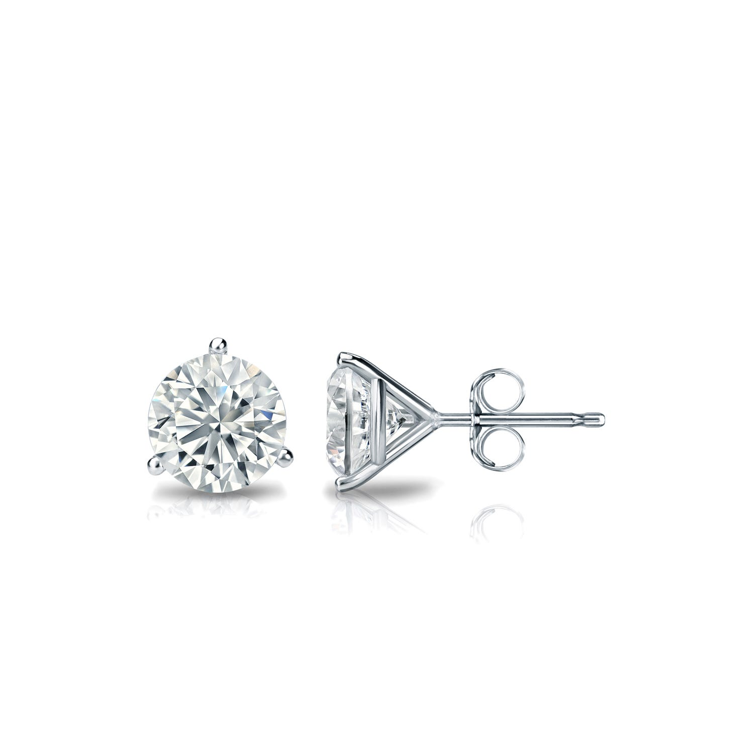 5/8 CTTW Round Diamond Solitaire Stud Earrings IJ I1 in 18K White Gold 3-Prong Setting
