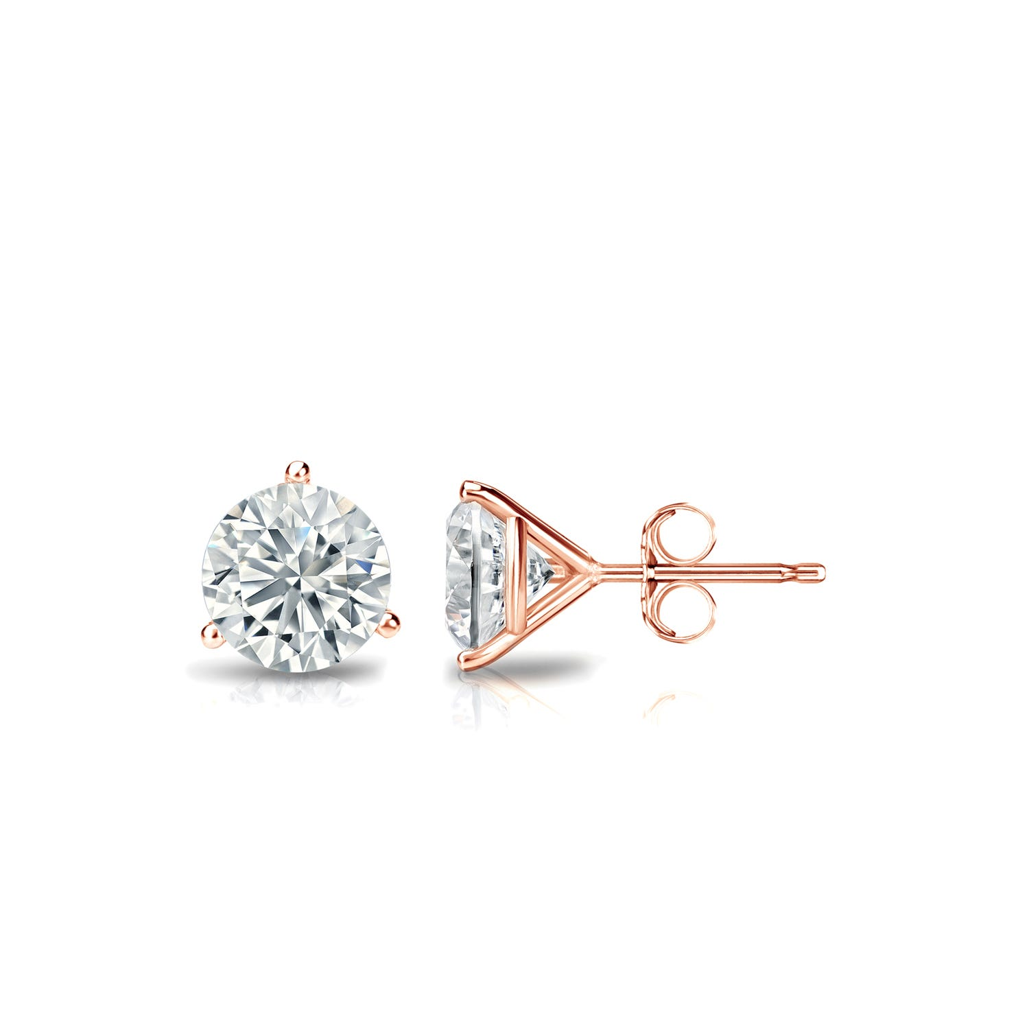 5/8 CTTW Round Diamond Solitaire Stud Earrings IJ VS2 in 14K Rose Gold 3-Prong Setting