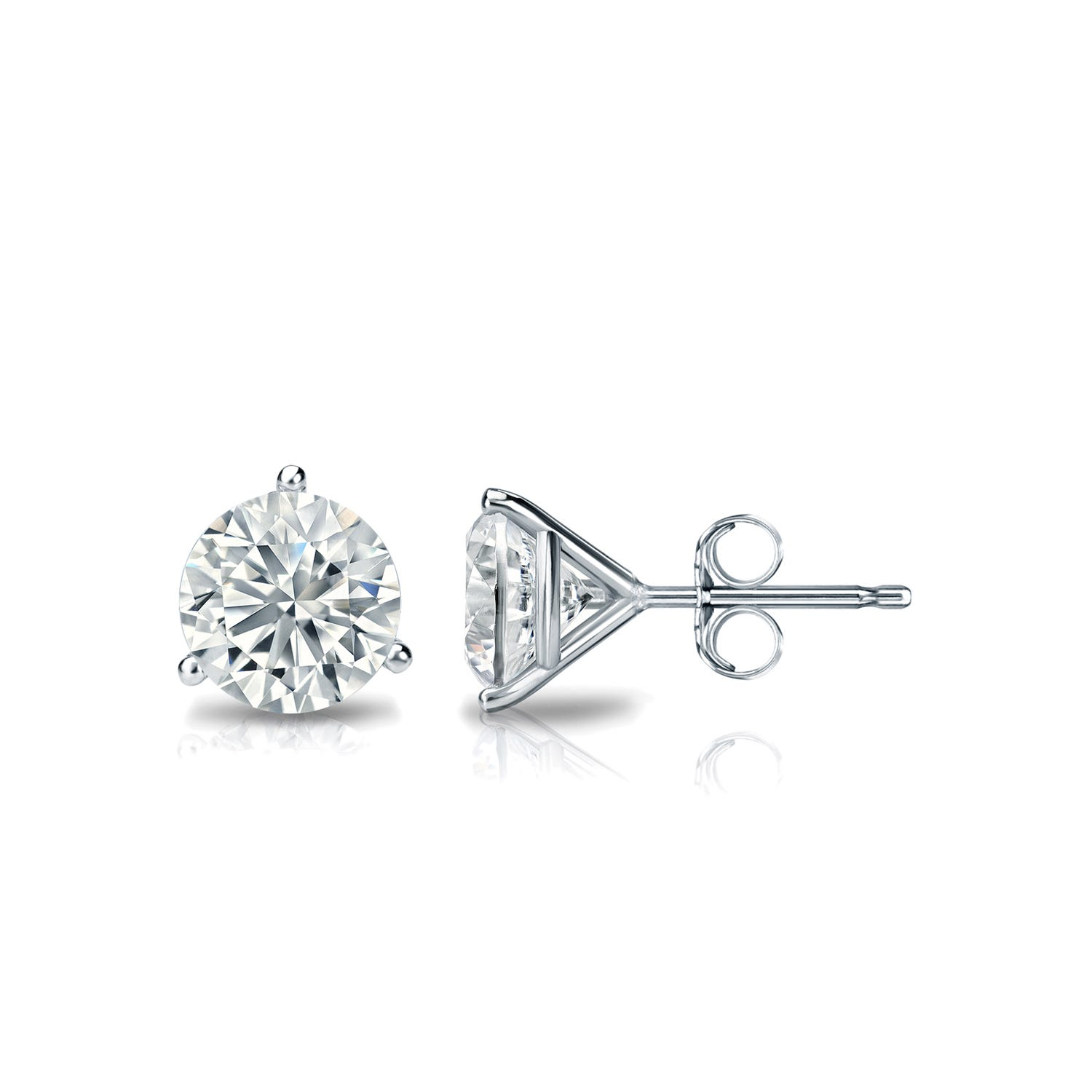3/4 CTTW Round Diamond Solitaire Stud Earrings IJ I1 in 18K White Gold IGI Certified 3-Prong Setting