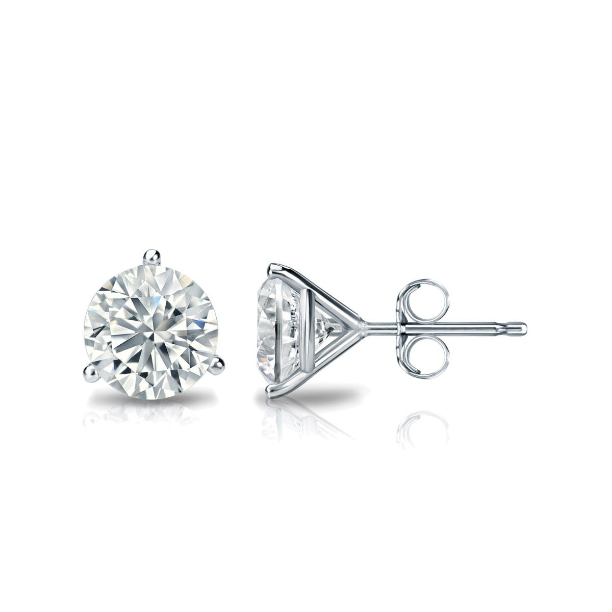 1 CTTW Round Diamond Solitaire Stud Earrings IJ SI2 in 18K White Gold IGI Certified 3-Prong Setting