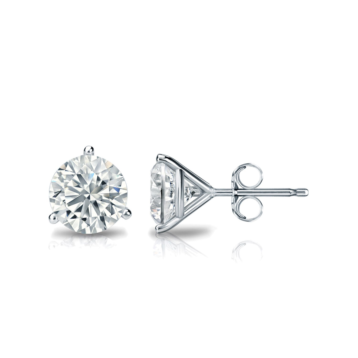 1 CTTW Round Diamond Solitaire Stud Earrings IJ I2 in 18K White Gold IGI Certified 3-Prong Setting