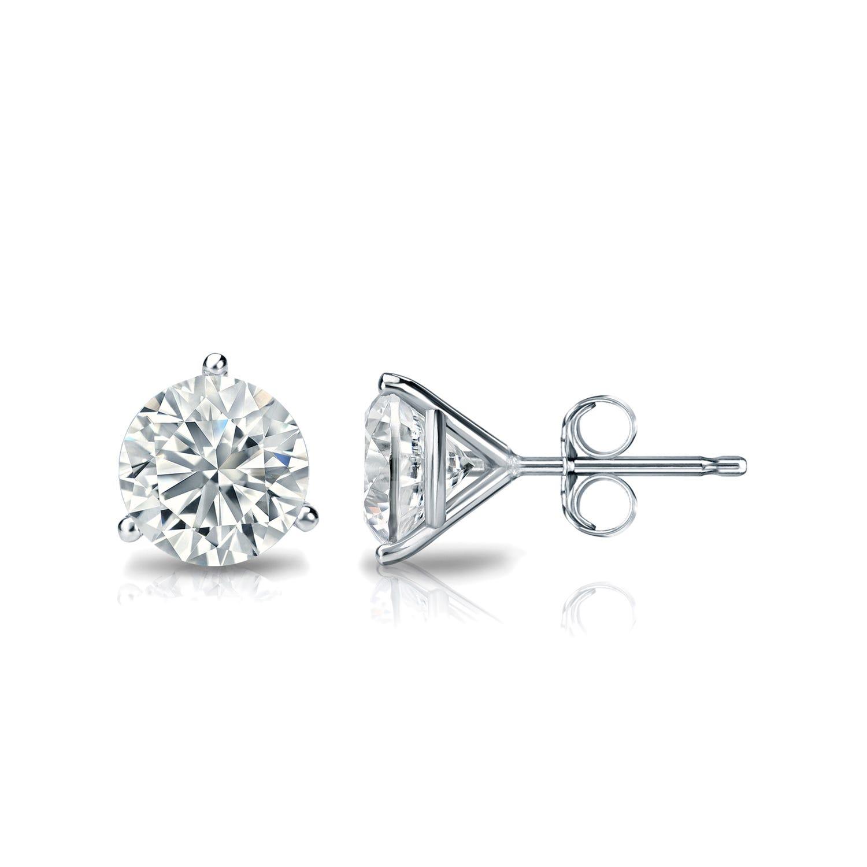1 CTTW Round Diamond Solitaire Stud Earrings IJ VS2 in Platinum IGI Certified 3-Prong Setting