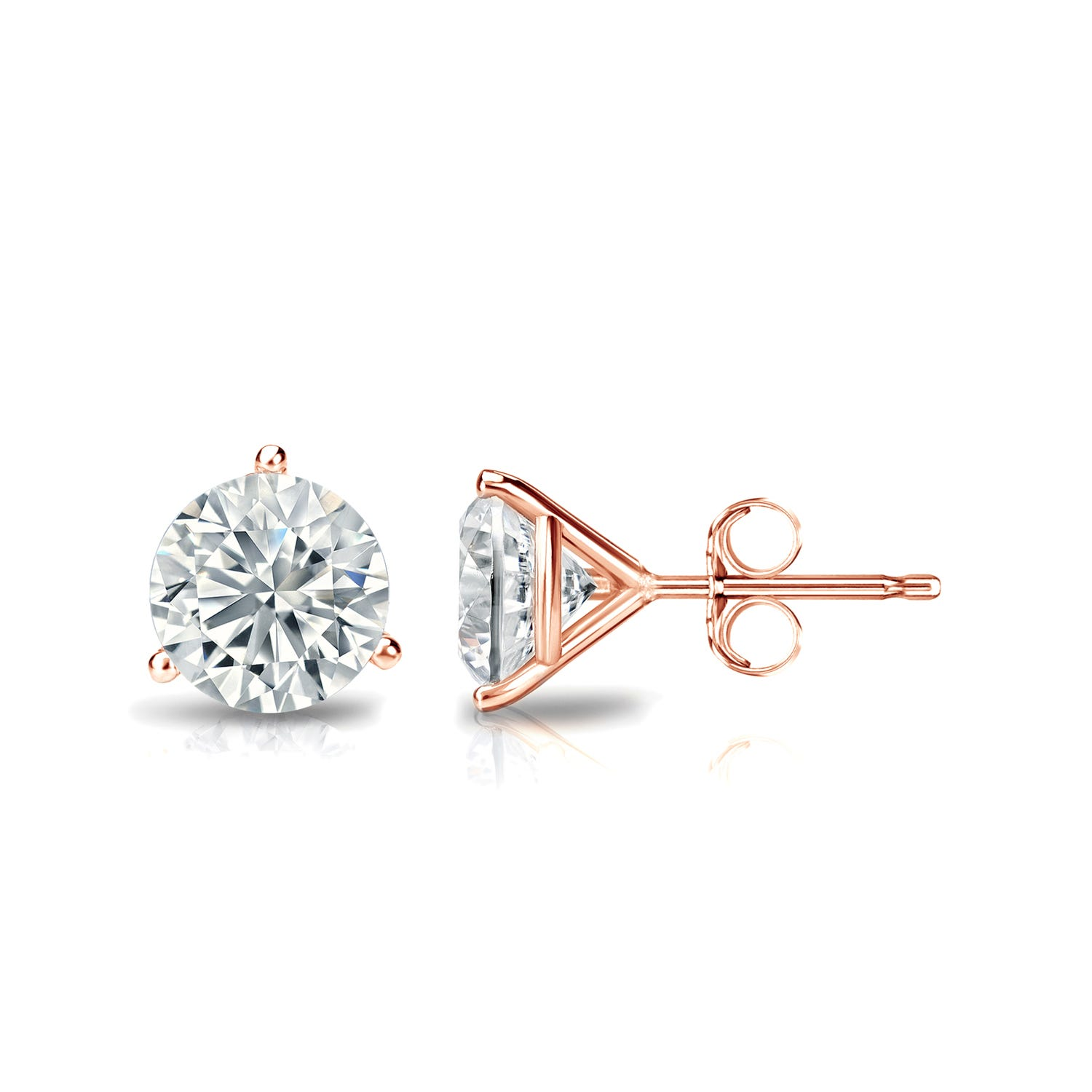 1 CTTW Round Diamond Solitaire Stud Earrings IJ I2 in 14K Rose Gold IGI Certified 3-Prong Setting