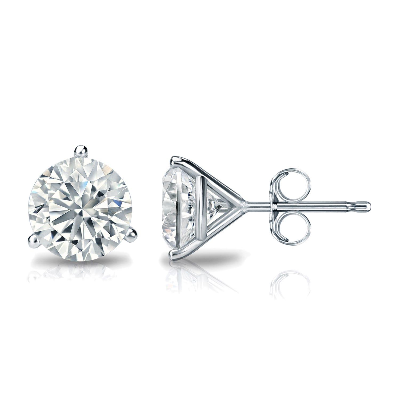 1-1/2 CTTW Round Diamond Solitaire Stud Earrings IJ VS2 in 18K White Gold IGI Certified 3-Prong Setting