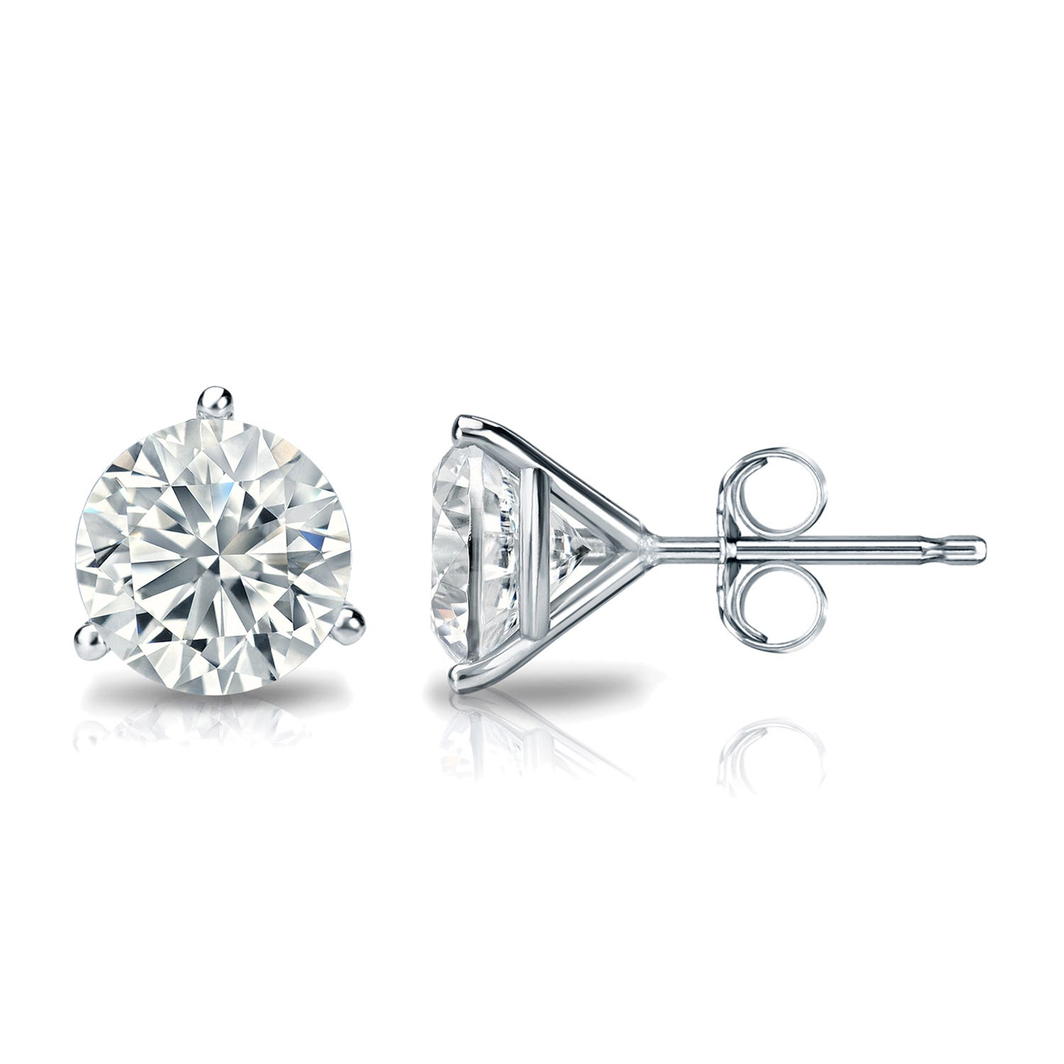 1-1/2 CTTW Round Diamond Solitaire Stud Earrings IJ I1 in 18K White Gold IGI Certified 3-Prong Setting