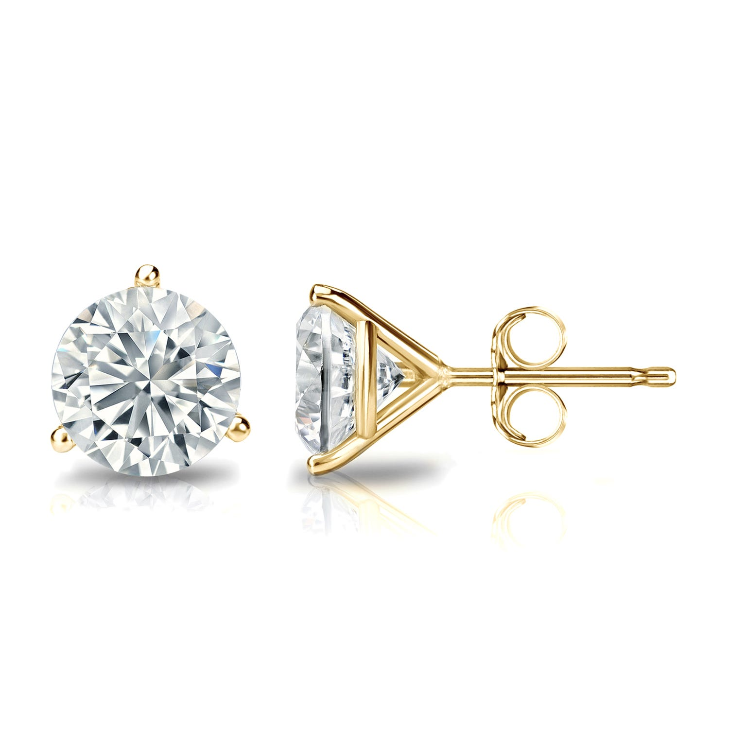 1-1/2 CTTW Round Diamond Solitaire Stud Earrings IJ I2 in 18K Yellow Gold IGI Certified 3-Prong Setting