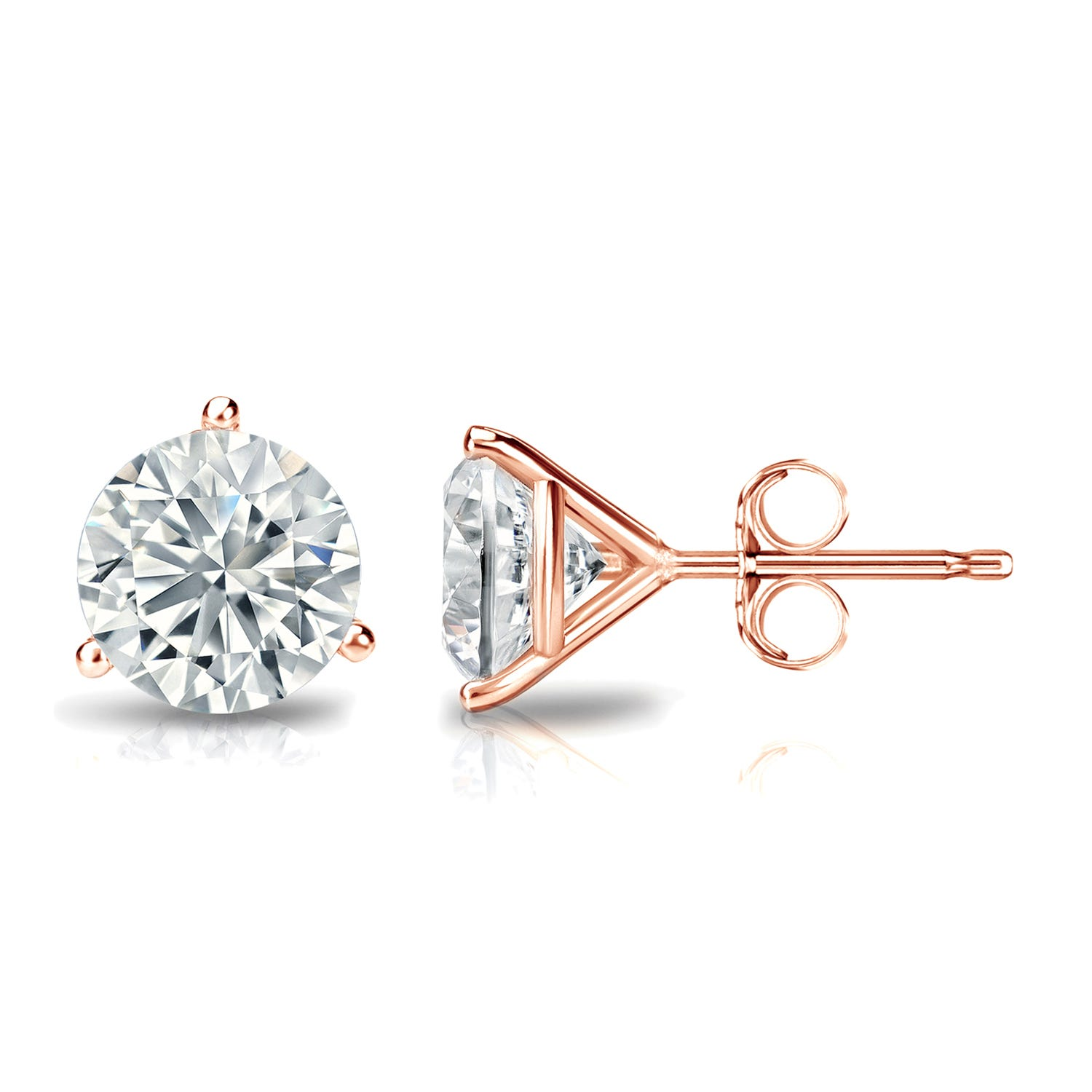 1-1/2 CTTW Round Diamond Solitaire Stud Earrings IJ SI2 in 14K Rose Gold IGI Certified 3-Prong Setting