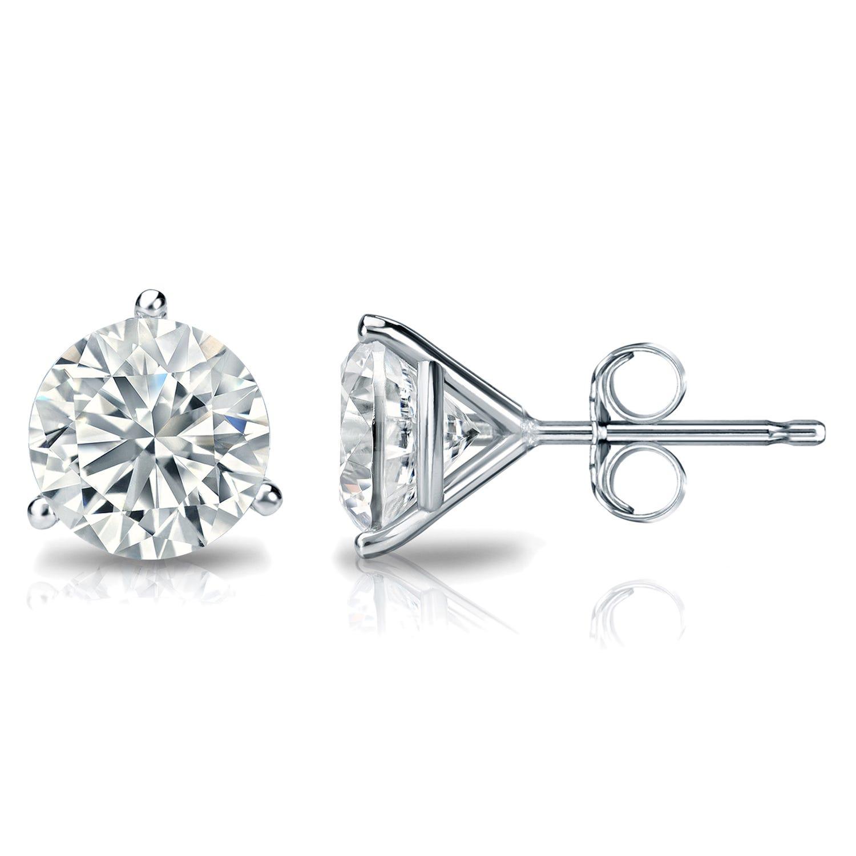 2 CTTW Round Diamond Solitaire Stud Earrings IJ VS2 in 18K White Gold IGI Certified 3-Prong Setting