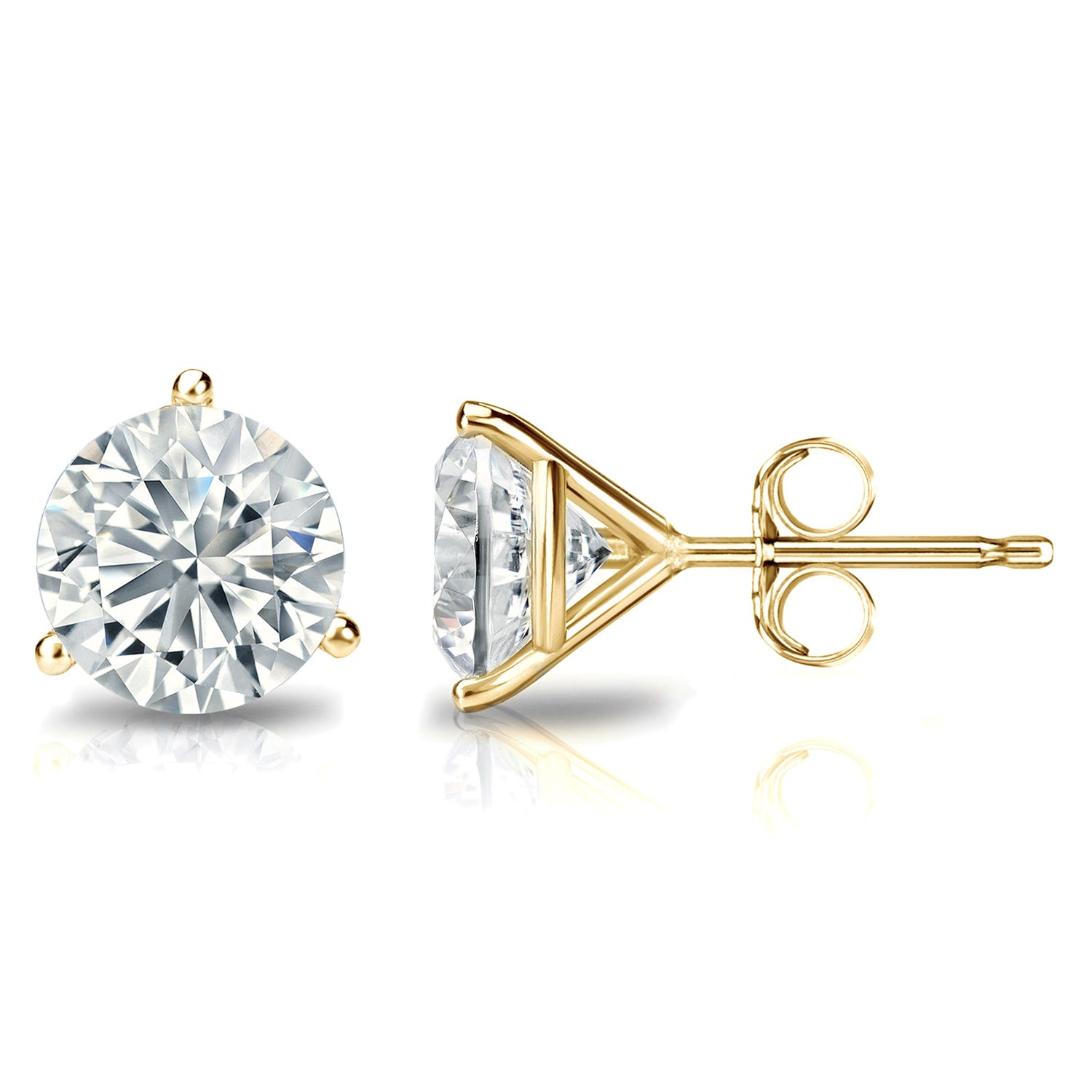 2 CTTW Round Diamond Solitaire Stud Earrings IJ VS2 in 18K Yellow Gold IGI Certified 3-Prong Setting