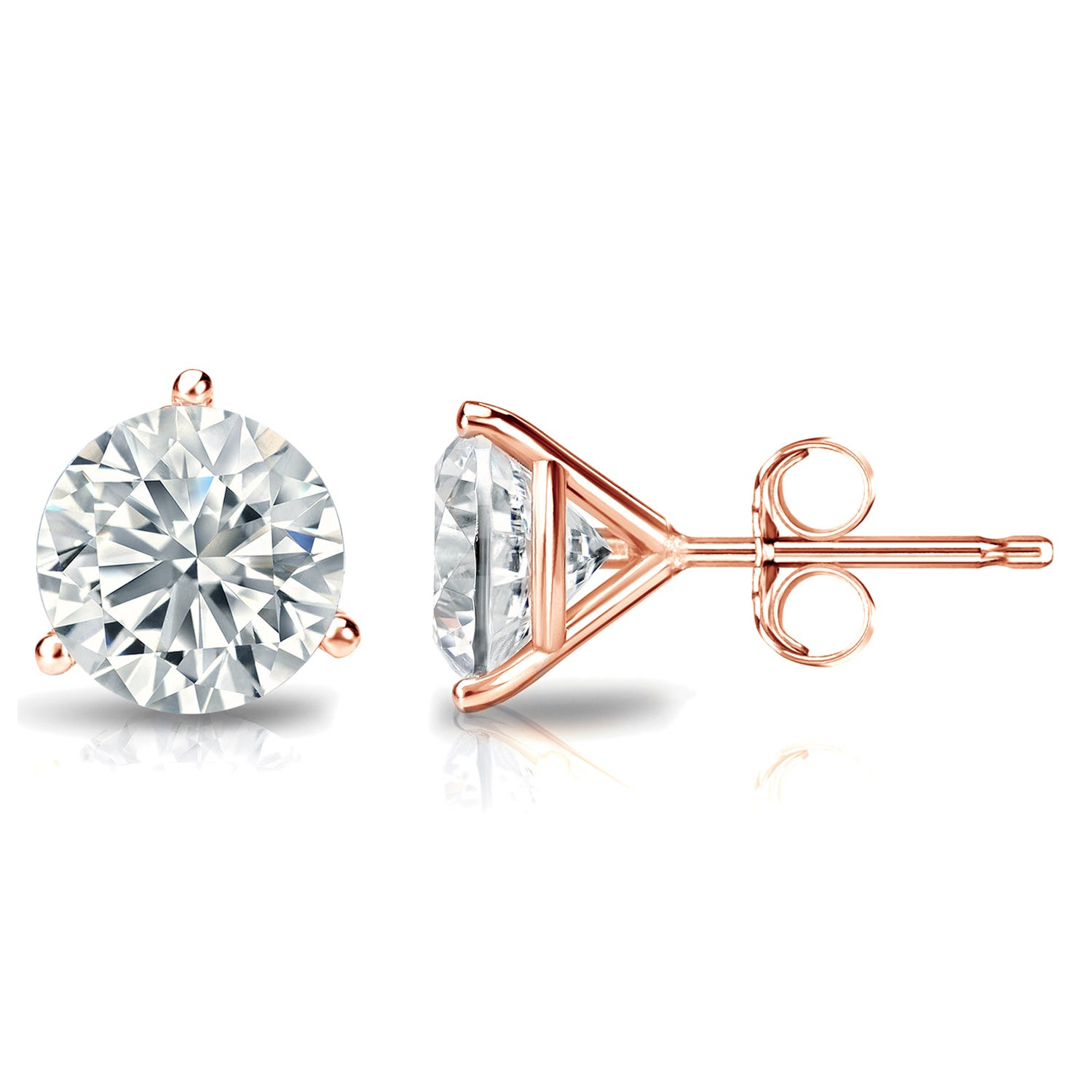 2 CTTW Round Diamond Solitaire Stud Earrings IJ SI2 in 14K Rose Gold IGI Certified 3-Prong Setting
