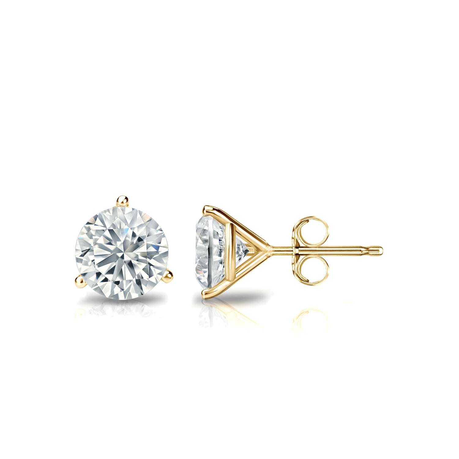 3/4 CTTW Round Diamond Solitaire Stud Earrings IJ SI1 in 14K Yellow Gold IGI Certified 3-Prong Setting
