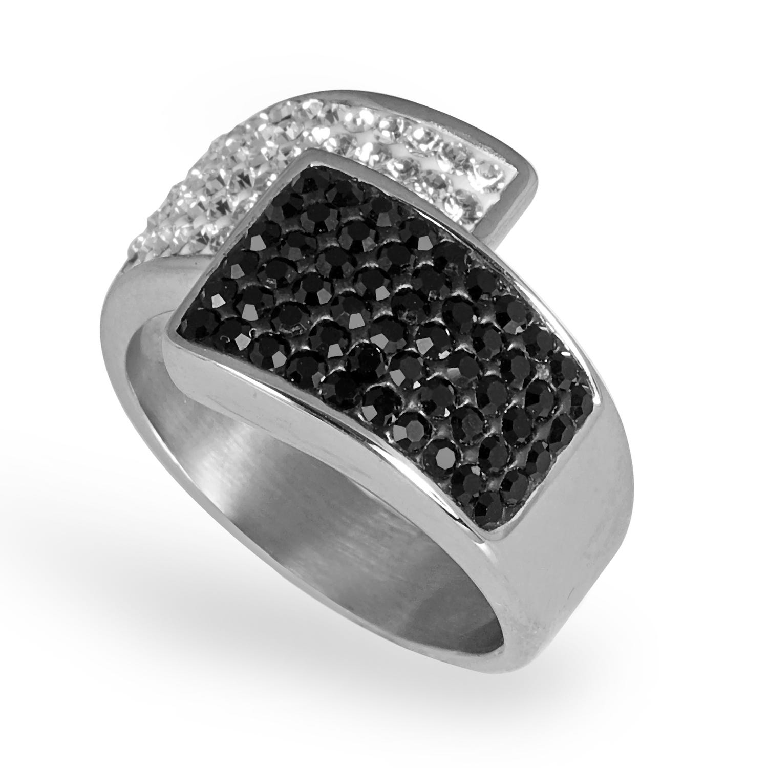 Ladies Cry & Jet Black Crystal Fashion Ring in Stainless Steel