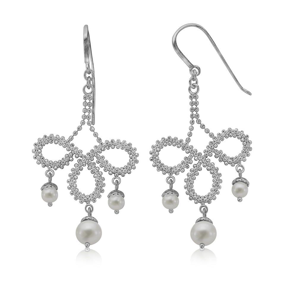 Pearl Lace Dangle Earrings in Sterling Silver